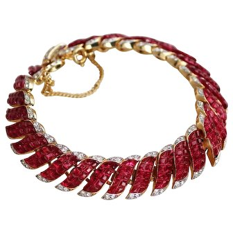 Trifari Alfred Philippe Ruby Red Invisible Set Stone Bracelet