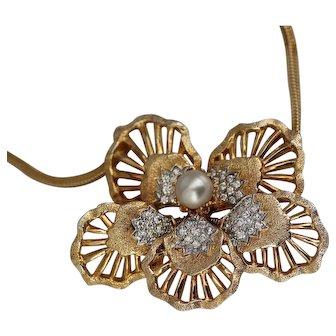 Nettie Rosenstein Trembler Flower Necklace