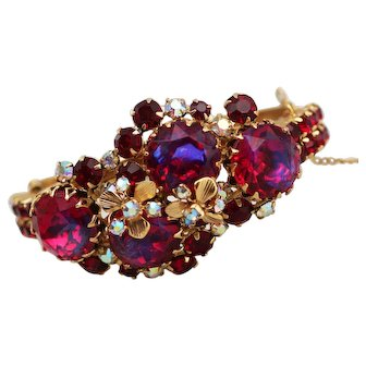Red Fire Filled Rhinestone Bracelet with Flower Accents