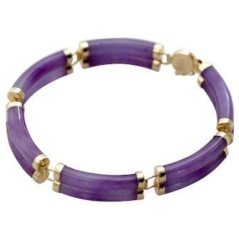 Vintage 14k Gold Lavender Jade Bracelet