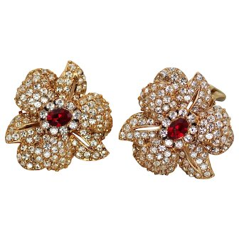 Ciner Pave Earrings with Red Rhinestone, Sparkling Vintage