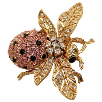 CINER Pink & Clear Swarovski Crystals Bee Pin