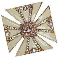 CINER Maltese Cross Brooch, Cream Enameling with Rhinestones