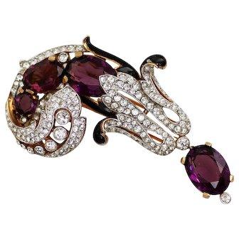 Trifari Empress Dangling Royal Purple Rhinestone & Enamel Fur Clip
