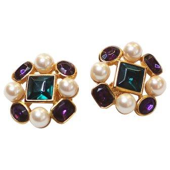 Trifari Earrings Red and Purple Rhinestone with Faux Pearls