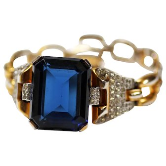 TRIFARI Philippe Sapphire Glass Chunky Rhinestone Tank Bracelet