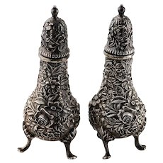 KIRK & SON Repousse Rose Salt and Pepper Shakers Sterling Silver