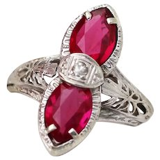 Vintage 14k White Gold Filigree Synthetic Ruby and Diamond Ring