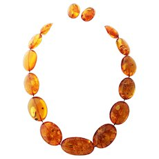 Natural Baltic Amber Necklace and Sterling Earrings Signed N.E. From
