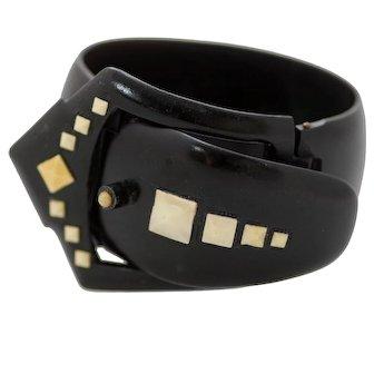 Celluloid Art Deco Buckle Bracelet - Bold Black & Cream Detailing