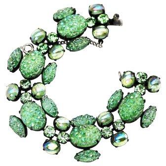 Schiaparelli Lava Stone Bright Green Rhinestone Bracelet