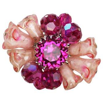 Vendome Brooch by Coro Magenta Art Glass Flowers