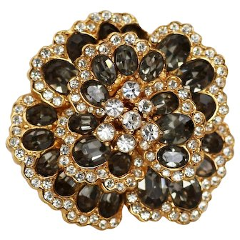 Ciner Gray Rhinestone Dimensional Flower Brooch Pin