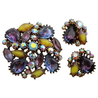 Signed Art Colorful Purple Givre Glass Brooch and Earrings