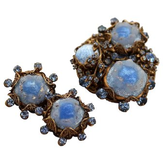 AMOURELLE Brooch and Earrings - Blue Art Glass with Rhinestones