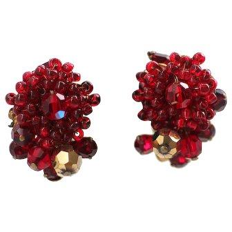 EUGENE Ruby Red Beaded Vintage Earrings