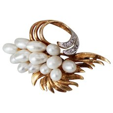 14K Gold Pearl and Diamond Brooch, Flowing Basket of Pearls