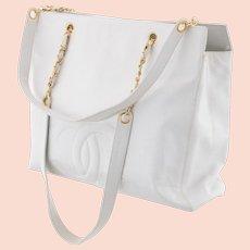 Vintage CHANEL White Caviar Leather Tote w Chain Shoulder Strap Dust Bag XL