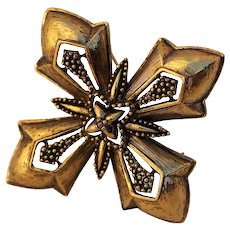 Napier Antiqued Gold-tone Maltese Cross Brooch