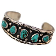 Navajo Hand-Stamped Sterling Silver Turquoise Bracelet
