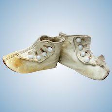 White Soft Leather Doll Boots Shoes with White Glass Buttons