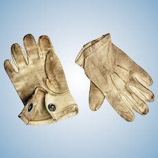 Antique Doll Child's Leather Gloves with Snap