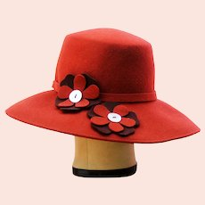 1970s Rust Wide Brim Hat Molded Wool Felt with Groovy Flowers