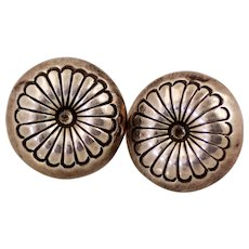 Native American Button Earrings with Flower Design