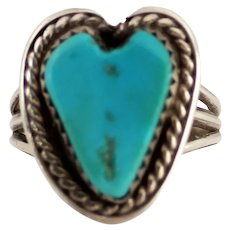 Native American Turquoise Heart Shaped Sterling Ring