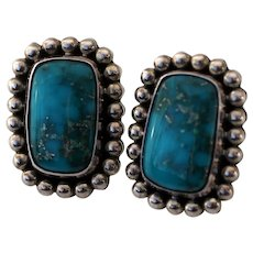 Morenci Turquoise & Sterling Silver Earrings, Signed Little Yellowhorse