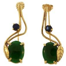 18K Jade and Sapphire Pierced Earrings - Gorgeous