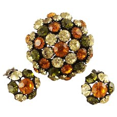 Warner Domed Rhinestone Brooch Pin and Earrings, Autumn Colors