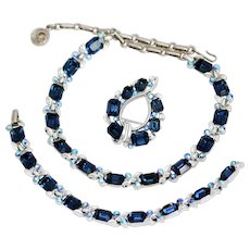 Lisner Blue Sapphire Emerald Cut Necklace Bracelet Brooch Parure