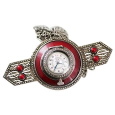 French Art Deco Sterling Marcasite Red Enamel Pendant Watch
