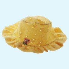 Baby Doll Hat - Floppy Yellow Eyelet Hat
