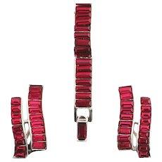 Trifari Bracelet and Earrings, Channel Set Red Baguette Rhinestone Waves