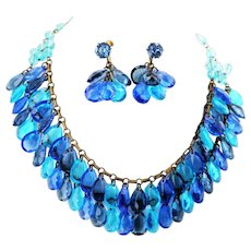 Glass Droplet Necklace and Earring Set - Ocean Blue
