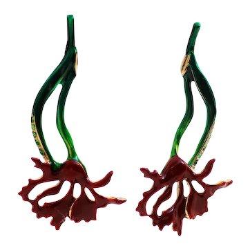 Oscar de la Renta Flower Dangle Earrings