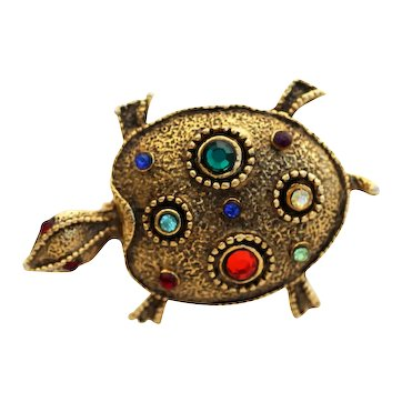 Vivid Turtle Brooch Pin Figural, Bejeweled with Rich Color