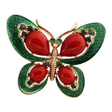 Vintage TRIFARI Green Butterfly Brooch Pin L'Orient 1960s Collection