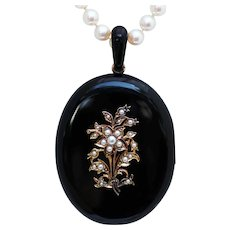 Large Mourning Locket with 14K Gold and Seed Pearl Accents