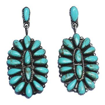 Zuni Pierced Earrings Petit Point Turquoise Dangles, Signed