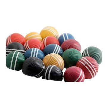 Wooden Croquet Balls, 6 Color Sets, Ribbed