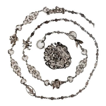 Peruzzi Sterling Necklace, 38.5 Inch Chain with Figurals - Tribute to Italy