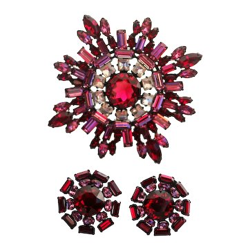 Schreiner Red Rhinestone Pin Brooch and Earrings Set