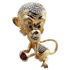 Pauline Rader Chimp Monkey Brooch Pin Figural Rhinestone