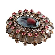 Schreiner Gray Pink Crystal Domed Brooch with Faux Mabe Pearl