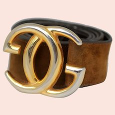 Gucci Double G Buckle with Brown Suede Belt