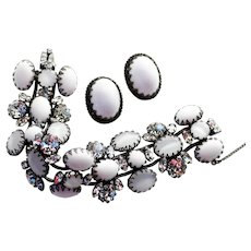 Schreiner White Cabochon and Rhinestone Bracelet and Earrings