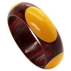 Bakelite Bracelet Cream Dots and Marbled Burgundy